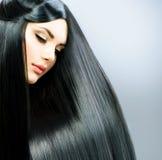 Långt rakt hår royaltyfri foto