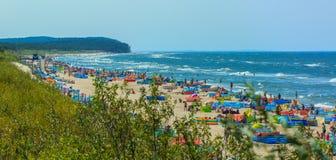 Långt sandigt strand-Polen-baltiskt hav Fotografering för Bildbyråer