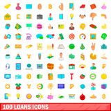 100 lånsymboler uppsättning, tecknad filmstil Royaltyfri Foto