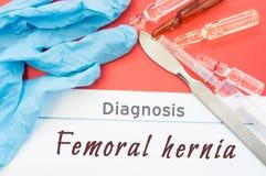Lår- bråck för diagnos Blåa handskar, den kirurgiska skalpellet, injektionssprutan och ampullen med medicin ligger bredvid lår- b Fotografering för Bildbyråer