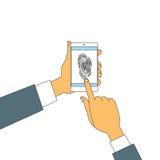 Lås för tillträde för fingeravtryckSmart telefon, säkerhet för bildläsning för händer för fingeravtryck för pekskärm för affärsma stock illustrationer