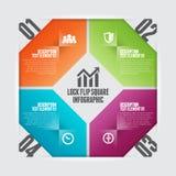Lås Flip Square Infographic Arkivfoton