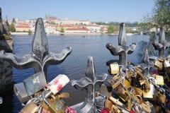 Lås i centret av Prague Royaltyfria Bilder