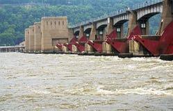 Lås och fördämning 11 på Mississippiet River i Dubuque, Iowa Royaltyfria Foton