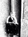 Lås på rostiga järnportar Royaltyfri Fotografi