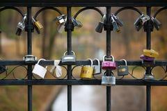 Lås på staket av bron royaltyfri foto