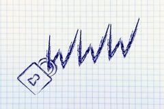 Lås på WWW symbolet: internetsäkerhet & risker för förtroligt I Arkivbilder