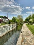 Låsa #23, den Walnutport kanalen, den Lehigh kanalen, Pennsylvania, USA Arkivbilder