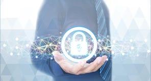 Låsa för skydd av nätverket i händerna av en affärsman royaltyfria bilder