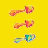 Låsa med en geometrisk design för nyckel- vektorsymbol Royaltyfri Fotografi