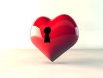 låser röda hjärtor för förälskelse 3d Stock Illustrationer