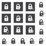Låssymbolsuppsättning Fotografering för Bildbyråer