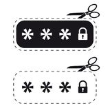 Låst lösenordfält - klippt ut klistermärke med Scissor - vektorsymbolsillustration - som isoleras på vit Royaltyfri Foto