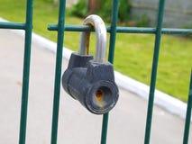 Låst rostig hänglås på staketet Arkivbilder