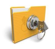 lÃ¥st säkerhet för begreppsmapp Arkivbild
