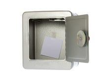 låst upp öppen safe för blank tom anmärkning Royaltyfri Bild