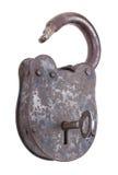 Låst upp medeltida hänglås med tangent Royaltyfri Bild
