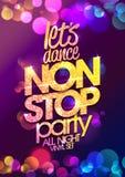 Låt designen för affischen för vektorn för partiet för stoppet för dansen för ` s non hela natten med chic guld- kristaller att g stock illustrationer