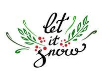Låt det snöbokstäver med sidor och bär Handskriven text för det nya året och vintern royaltyfri illustrationer