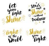 Låt din tryckbara uppsättning för ljus bokstäver för sken kristen stock illustrationer