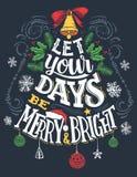 Låt dina dagar vara glade och ljusa stock illustrationer
