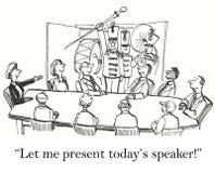 Låt mig presentera högtalaren för vårt möte stock illustrationer