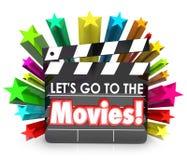 Låt oss gå till gyckeln Entertainmen för klockan för brädet för clapperen för filmfilmen royaltyfri illustrationer