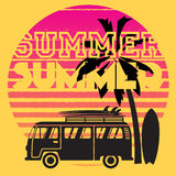 Låt oss gå till stranden i sommar royaltyfri illustrationer