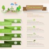 Låt oss spara jorden, ekologibegreppsinfographics Arkivfoton