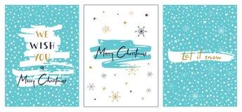låt snow Vektormall för inbjudningar och att hälsa scrapbooking och lyckönskan Vinteraffischuppsättning Arkivfoto