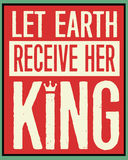 Låten jord mottar hennes konung Retro Christmas Poster Royaltyfri Bild