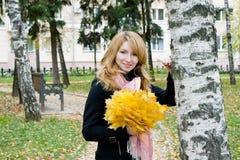 låter vara den blonda buketten för hösten parkyellow Arkivfoton