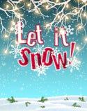 Låtet det att snöa, blå text på bakgrund som skapas av abstrakt himmel och moln, med effekt 3d, illustration Royaltyfri Foto