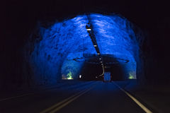 Lærdal Tunnel - Norway. The Lærdal is a long road tunnel between Aurland and Lærdal. The tunnel is divided into four sections, separated by three large Stock Photos