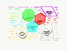 Lèvres à l'intérieur des formes avec des couleurs ombragées de vert, de bleu, et le rouge illustration de vecteur