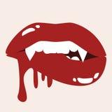 Lèvres acérées de vampire sexy avec le sang Photo stock