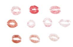 lèvres avec la marque de rouge à lèvres Photo stock