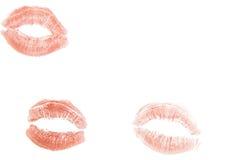 lèvres avec la marque de rouge à lèvres Photographie stock libre de droits