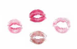 lèvres avec la marque de rouge à lèvres Photos libres de droits