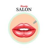 Lèvres de femelle d'icône de vecteur Lèvres permanentes de maquillage Illustration Image stock