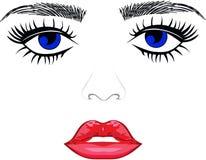 Lèvres de yeux de sourcils illustration libre de droits