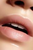 Lèvres dodues de plan rapproché Soin de lèvre, augmentation, remplisseurs Macro photo avec le détail de visage Forme naturelle av photos stock