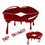 Lèvres ensanglantées avec le sang d'égoutture illustration libre de droits