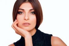 Lèvres et yeux de beauté de femme dans le studio Photos libres de droits