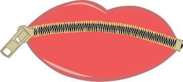 Lèvres fermées la fermeture éclair Photo libre de droits
