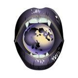 Lèvres grises de vampire avec une lune illustration libre de droits