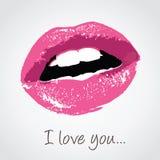 Lèvres roses avec le message d'amour Photographie stock libre de droits