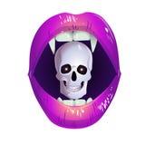 Lèvres roses avec un crâne illustration de vecteur