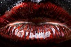 Lèvres rouge foncé brillantes Photos libres de droits