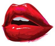 Lèvres rouges ouvertes Photographie stock libre de droits